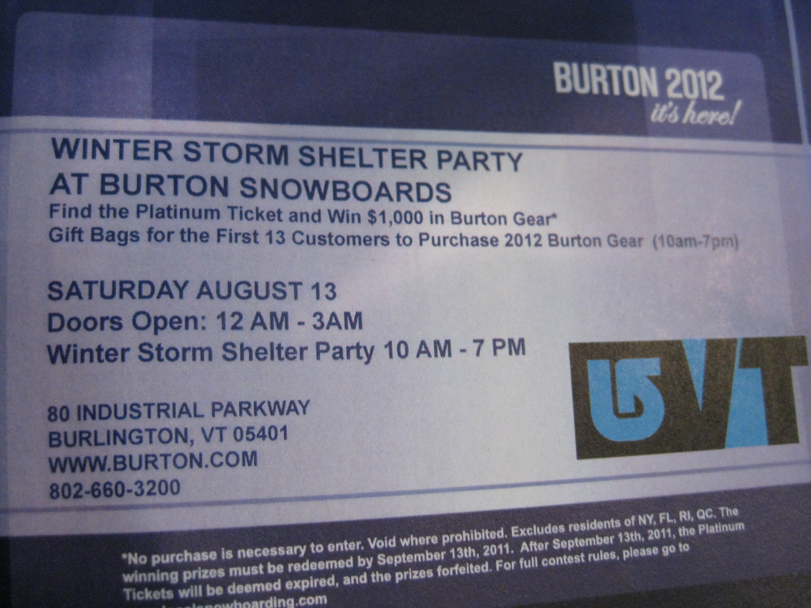 Burton WINTER STORM SHELTER PARTY August 13 Burlington VT
